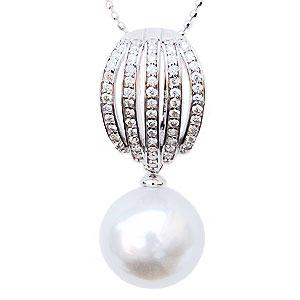 真珠 ペンダントトップ ダイヤ 南洋白蝶真珠 K18WG ホワイトゴールド 真珠の径11mmピンクホワイト系 ダイヤモンド 59石 計0.29ct ペンダント