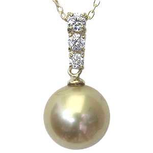 パールペンダントトップ 真珠 パール 南洋白蝶真珠 ゴールド系 径10mm ダイヤモンド 3石 計0.20ct K18 ゴールド ペンダント