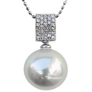 母の日 2019 ペンダントネックレス 南洋真珠パール K18WG ホワイトゴールド ダイヤモンド ジュエリー