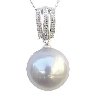 ペンダントトップネックレス 南洋真珠パール K18WG ホワイトゴールド ダイヤモンド