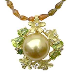 ネックレスペンダント 南洋真珠パール K18ゴールド ネックレス ダイヤモンド ペリドット グリーントルマリン 送料無料