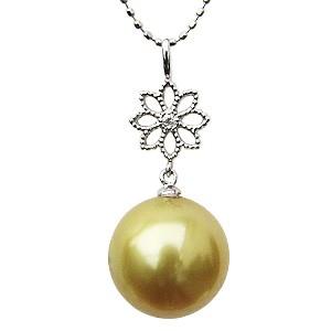 パール ペンダントトップ 真珠 ネックレス ゴールデンパール ホワイトゴールド K18 ダイヤモンド