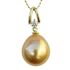 ゴールデンパール 真珠 ペンダントトップ ネックレス K18 ゴールド ダイヤモンド