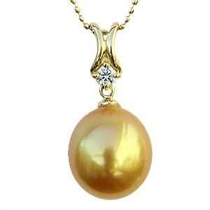 真珠 パール ネックレス ペンダントトップ K18 ゴールド ダイヤモンド
