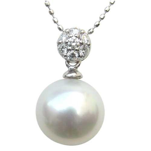 ペンダントトップ ダイヤ 南洋真珠 PT900 プラチナ ネックレス ダイヤモンド ジュエリー