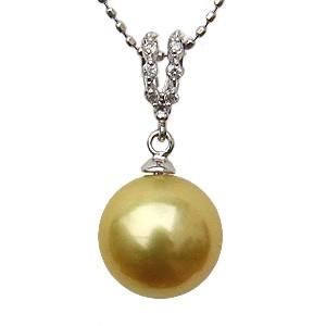 真珠 ペンダントトップ ゴールデンパール ネックレス K18 ホワイトゴールド ダイヤモンド
