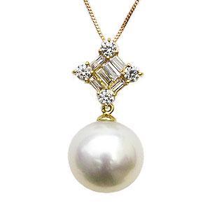 パールペンダントトップ ホワイトパール 南洋白蝶真珠 10mm ダイヤモンド 0.30ct バケット K18 イエローゴールド