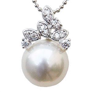 ペンダント ホワイトパール 11mm 南洋白蝶真珠 ダイヤモンド K18 ホワイトゴールド ペンダントトップ
