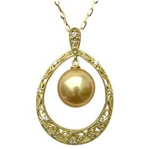 ペンダントネックレス 南洋真珠ゴールドパール K18ゴールド ネックレス ダイヤモンド ジュエリー 送料無料