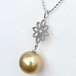 ペンダントトップ ネックレス 南洋真珠パール ホワイトゴールド 花 ダイヤモンド ジュエリーtdxQsCBhr