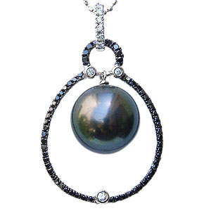 母の日 2019 ブラックパール ペンダントトップ タヒチ黒蝶真珠 11mm 黒真珠 パール ホワイトゴールド ブラックダイヤモンド