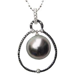 母の日 2019 ブラックパール ペンダントトップ タヒチ黒蝶真珠 12mm 黒真珠 パール ホワイトゴールド ブラックダイヤモンド
