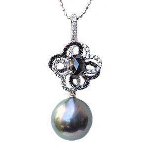 母の日 2019 真珠 パールペンダントトップ タヒチ黒蝶真珠 ブラックパール 10mm 黒真珠 ホワイトゴールド ブラックダイヤモンド