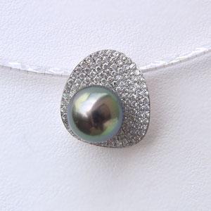 母の日 2019 黒真珠 ペンダントネックレス ダイヤモンド パール オメガチェーン