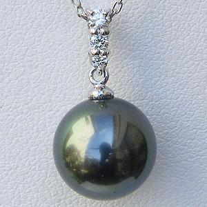 母の日 2019 真珠 パール ペンダントトップ ヘッド タヒチ黒蝶真珠 11mm ダイヤモンド 0.10ct ホワイトゴールド K18WG