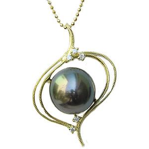 母の日 2019 真珠 パール ペンダントトップ 黒真珠 タヒチ黒蝶真珠 ブラックパール ダイヤモンド K18 18金 ゴールド