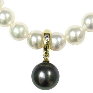 真珠 パール ペンダントトップ タヒチ黒蝶真珠 10mm K18 18金 ゴールド ダイヤモンド