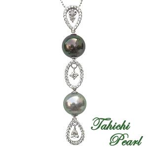 母の日 2019 限定1点 タヒチ黒蝶パール ダイヤモンド ペンダント 黒真珠 K18ホワイトゴールド