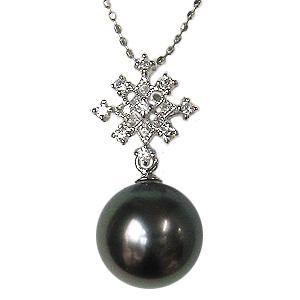 真珠 ブラックパール ペンダントトップ タヒチ黒蝶真珠 パール 黒真珠 K18WG 18金 ホワイトゴールド ダイヤモンド