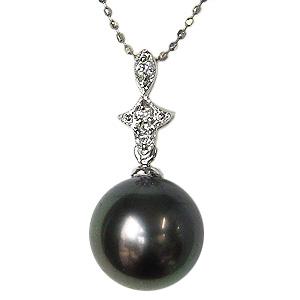 母の日 2019 真珠 ブラックパール ペンダントトップ タヒチ黒蝶真珠 パール 黒真珠 K18WG 18金 ホワイトゴールド ダイヤモンド