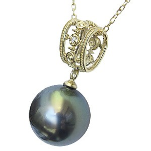 パール ペンダントトップ ダイヤ ネックレスペンダント 黒真珠パール K18ゴールド ネックレス ダイヤモンド