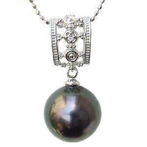 母の日 2019 真珠 ブラックパール ペンダントトップ タヒチ黒蝶真珠 K18WG ホワイトゴールド 真珠の直径11mm グリーン系 ダイヤモンド 1石 計0.01ct ペンダントトップ
