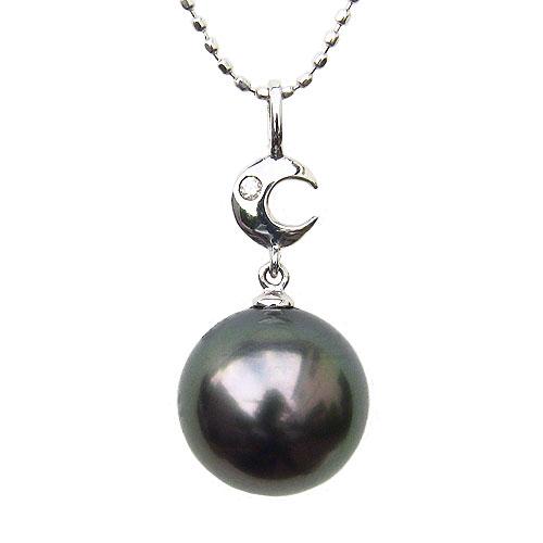ペンダントトップ ダイヤ ネックレスペンダント 黒真珠パール 月 PT900 プラチナ ネックレス ダイヤモンド ジュエリー