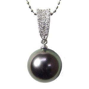 ペンダントトップ ネックレスペンダント 黒真珠パール K18ホワイトゴールドネックレス ダイヤモンド