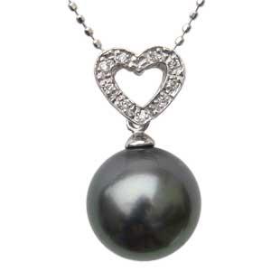 母の日 2019 ネックレスペンダント 黒真珠パール ホワイトゴールドネックレス ハート ダイヤモンド ジュエリー