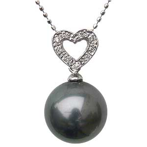 母の日 2019 ネックレスペンダント 黒真珠パール ホワイトゴールド ネックレス ハート ダイヤモンド ジュエリー