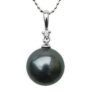 黒真珠 ブラックパール ペンダントトップ ネックレス ダイヤモンド K18 ホワイトゴールド