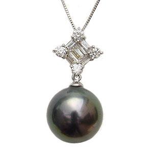 パールペンダントトップ 黒真珠 ブラックパール タヒチ黒蝶真珠 10mm ダイヤモンド 0.30ct バケット K18WG ホワイトゴールド