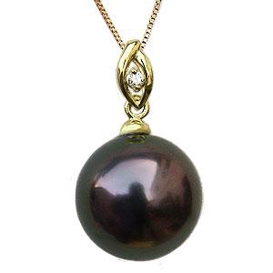 ブラックパール ペンダントトップ 黒真珠 10mm タヒチ黒蝶真珠 ダイヤモンド 0.01ct K18 ゴールド