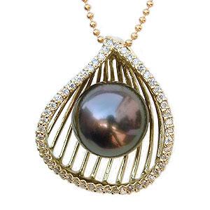 母の日 2019 ブラックパール ペンダントトップ 黒真珠 K18 ゴールド タヒチ黒蝶真珠 ペンダントネックレス ダイヤモンド