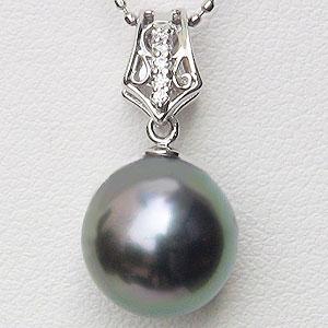 真珠 パール ペンダントトップ ヘッド タヒチ黒蝶真珠 10mm ホワイトゴールド 送料無料