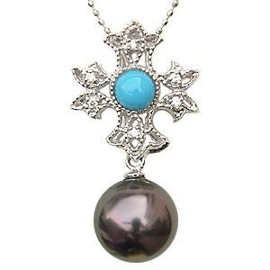 ペンダントトップ ダイヤ ネックレスペンダント 黒真珠パール PT900プラチナ ターコイズ トルコ石 ダイヤモンド