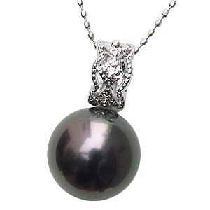 母の日 2019 ネックレスペンダント 黒真珠パール ホワイトゴールドネックレス ダイヤモンド