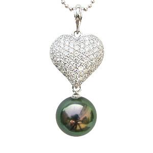 母の日 2019 限定1点 タヒチ黒蝶パール 2WAYペンダント 黒真珠 ホワイトゴールド ハート パヴェ ダイヤモンド