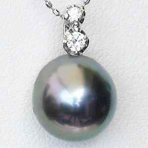 母の日 2019 ネックレス PT900プラチナ 黒真珠 パール ペンダント ダイヤモンド
