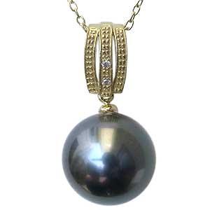 真珠 ブラックパール ペンダントトップ タヒチ黒蝶真珠 K18 ゴールド 真珠の直径11mm グリーン系 ダイヤモンド 2石 計0.01ct ペンダントトップ 送料無料