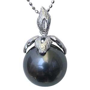 母の日 2019 真珠 ブラックパール ペンダントトップ タヒチ黒蝶真珠 直径11mm グリーン系 K18WG ホワイトゴールド ペンダント