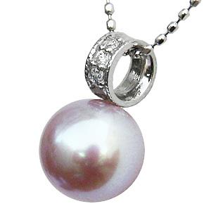 母の日 2019 ネックレス 淡水パール 真珠 ダイヤモンド ホワイトゴールド ペンダント ジュエリー