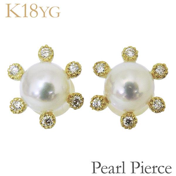ピアス 12石ダイヤ あこや本真珠 5.5-6mm ダイヤモンド 18金 18k K18イエローゴールド レディース