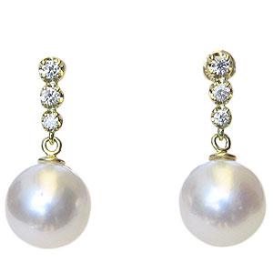 真珠 パール ピアス あこや本真珠 9mm 18金 18k K18 ゴールド ダイヤモンド ぶら下がり ゆれる 揺れる 送料無料 普段使い