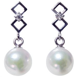 普段使い 可愛いデザインのパールピアス あこや本真珠 18金 18k K18WG ダイヤモンド シリコンダブルロックキャッチ付 ホワイトゴールド 真珠 ぶら下がり ゆれる 揺れる 送料無料