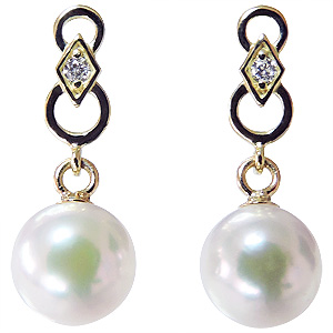 普段使い デザインのかわいいパールピアス あこや本真珠 18金 18k K18 ダイヤモンド シリコンダブルロックキャッチ付 ゴールド 真珠 ぶら下がり ゆれる 揺れる 送料無料