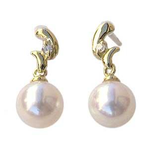 普段使い 真珠 ピアス パール あこや本真珠 ダイヤモンド 5mm 18金 18k K18 ゴールド ぶら下がり ゆれる 揺れる 送料無料