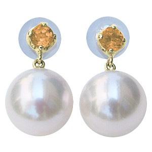 普段使い あこや本真珠 8.5mm スタッドピアス シトリン 11月誕生石 ピアス 18金 18k K18 ゴールド アコヤ真珠 パール 誕生日 記念日 プレゼント 結婚式 送料無料