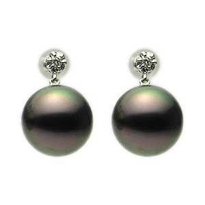 普段使い パールピアス 真珠ピアス ブラックパール 黒真珠 10mm 18金 18k K18 ホワイトゴールド ダイヤモンド ぶら下がり ゆれる 揺れる 送料無料