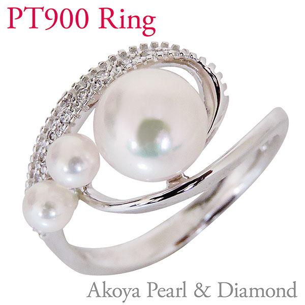 パールリング レディース 真珠の指輪 あこや本真珠 ダイヤモンド PT900プラチナ 8mm×1、3.5~4mm×2 3個付デザイン アコヤ あこや 真珠の指輪 6月誕生石 ジュエリー 贈答 冠婚葬祭 結婚 ブライダル 入学 卒業 保証書付 送料無料